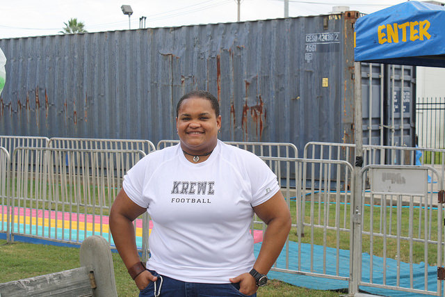 "Defensive End Tianne ""Tank"" Morales sporting her Krewe t-shirt. Photo Credit: Ben Shapiro"